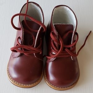 Burgundy Leather Walker Boots Size 5